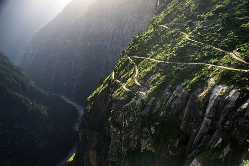 Road, mountain, cliff, river