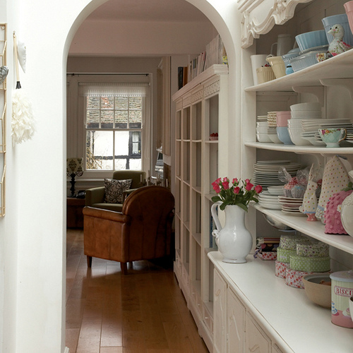 Built in shelving with china, via Flickr: Knitty, Vintage and Rosy