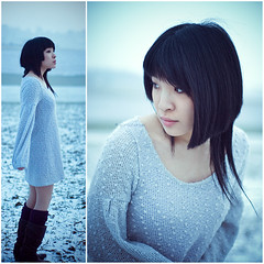 Lost In The Snow (Sachie Nagasawa - somewhair) Tags: winter selfportrait snow self 50mm nikon diptych autoportrait duo hiver neige diptyque sachie nagasawa 50fav 60fav d80 somewhair hantenshi