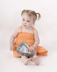 Hat (Courtney Lynn Robertson) Tags: portrait orange baby cute girl hat children pig toddler child dress little young barefoot pigtails tails childportrait orangedress courtneyrobertson courtneylynnphotography courtneylynnrobertson