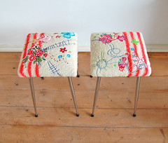 stools (ATLITW) Tags: pink flowers colour art home vintage happy design living cross heart handmade embroidery retro textile luck blanket stool eclectic thrifted brabantia