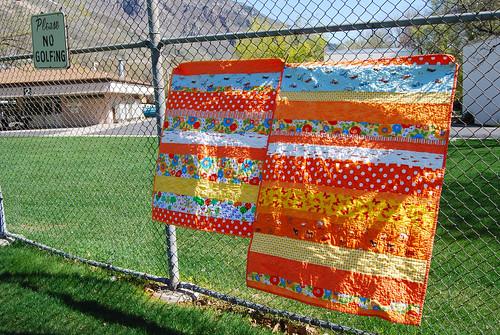 Two Orange Strip Quilts
