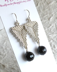 Silver Triangle and Onyx Earrings (BeadJewelryShopgirl) Tags: silver jewelry earrings beaded onyx bao beadwork beadweaving delicas dccraftmafia beadjewelryshopgirl beadartoriginals
