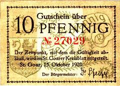 St. Goar, 10 pf, 1920 (Iliazd) Tags: inflation notgeld germaninflationarycurrency emergencymoney firstworldwarmoney germanpapermoney