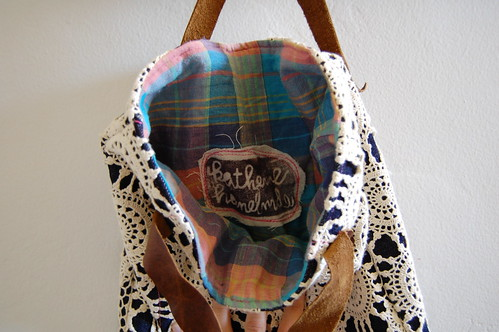 lace & denim bag interior