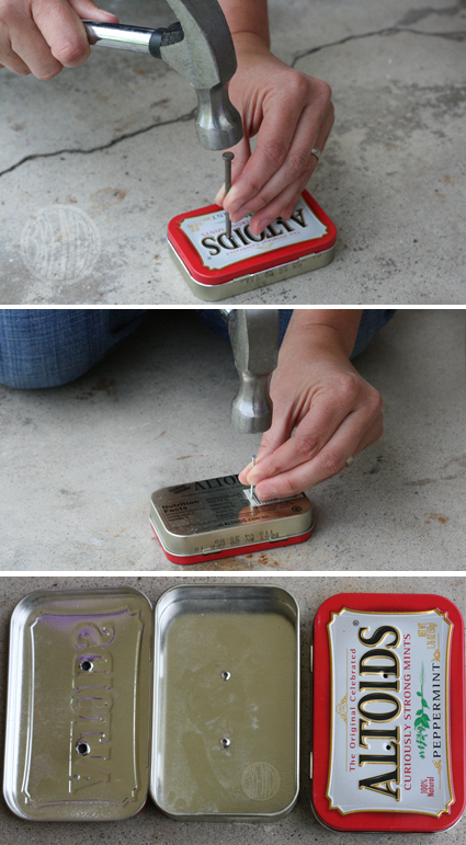 making holes in Altoid tin with nail and hammer