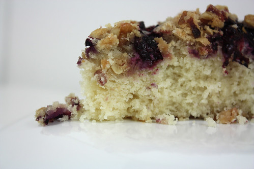 Detail Slice Blueberry Rhubarb Buckle Cake