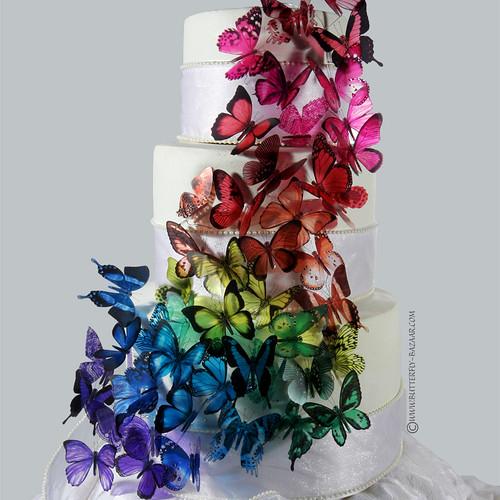Butterfly-Bazaar.com - Cascading Rainbow Butterfly Cake Topper 2