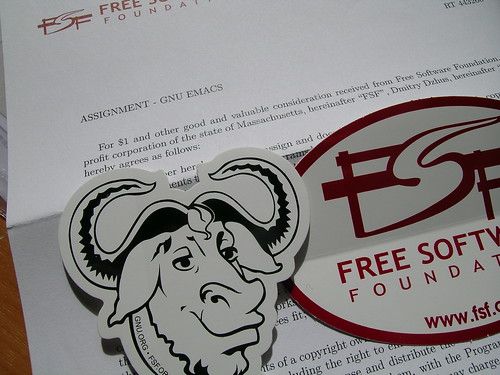 FSF copyright assignment and stickers