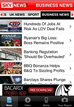 Sky News iPhone homepage