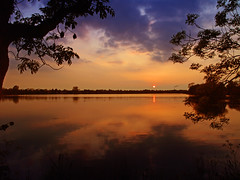 Come back (Kirsten M Lentoft) Tags: trees sunset sky sun reflection clouds denmark silhouettes bec damhussøen infinestyle kirstenmlentoft newgoldenseal