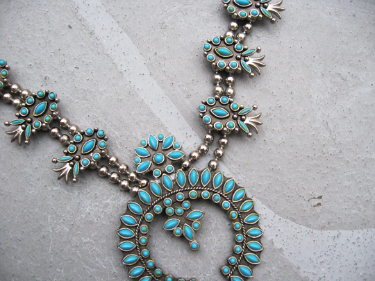 squash blossom necklace, turquoise-pineapple-necklace-cher-2