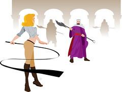 Sara Sahara with Guardians (VectorJungle) Tags: guard blonde whip bedouin scythe