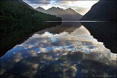 lake gunn (Daniel Murray (southnz)) Tags: park sunset newzealand lake reflection water clouds landscape evening scenery national valley nz eglinton southisland gunn fiordland southnz