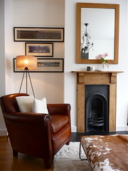 P1010635 (afewthingsfrommylife) Tags: fireplace interiors livingroom textures interiordesign eclectic brownleather artdisplay leatherarmchair
