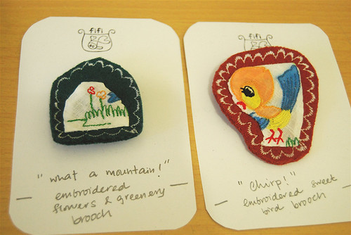bird & mountain brooches