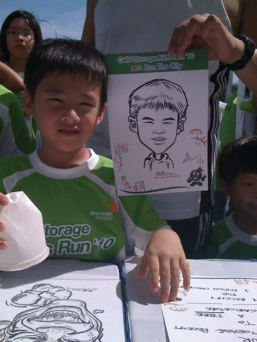 caricature live sketching for Cold Storage Kids Run 2010 - 15