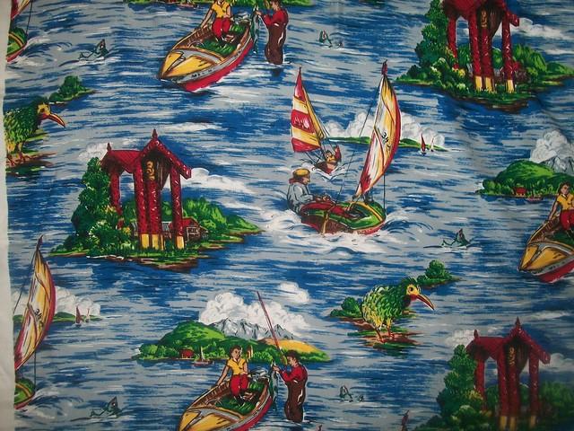 Vintage Kiwiana Novelty Print  Fabric