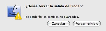 Captura del diálogo de reinicio de aplicaciones en Mac OS X