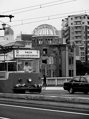 A-Bomb Dome Sightseeing Streetcar (mishes) Tags: street travel vacation urban bw food monochrome japan digital geotagged lumix blackwhite reisen asia asien hiroshima panasonic  nippon  backpacker japon giappone nihon savethewhales atomicbomb enolagay abombdome nuclearbomb fz50 peacememorialpark  stopwhaling hypocenter fernweh  panasoniclumix genbakudome itchyfeet dmcfz50 panasoniclumixfz50  chgoku hiroshimaheiwakinenken sany mobydickismyfriend