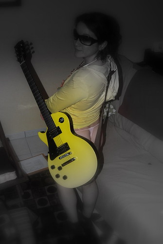 : sexy, pink, wife, girlfriend, thong, lespaul, gibson, string, yellow