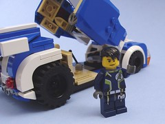 Andy with his Banshee (peterlmorris) Tags: walter andy car toy lego m8 supercar moc futurecar