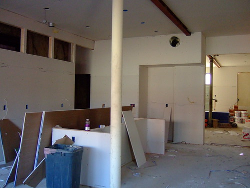 Drywall up in big room (by ann-dabney)