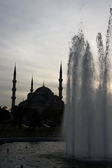 Sultanahmet Mosque (Marwano) Tags: blue sunset fountain silhouette turkey dusk muslim islam istanbul mosque sultanahmet