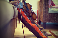 Extracurricular (: c a l v i n a :) Tags: music break m violin bow rest musicalinstrument lessons orangepants