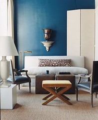 Modern blue + white living room: 'Galapagos Turquoise' by Benjamin Moore (xJavierx) Tags: urn modern design pattern graphic interior livingroom decorating cube domino decor interiordesign blueroom ikat bluepaint benjaminmoore homedesign foldingscreen dominomagazine whitefurniture upholsteredcube whiteupholstery ikatfabric cubeottoman
