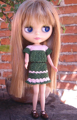 my green with little pink outfit