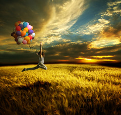 Freedom (La Bella Sandra Photography) Tags: woman color colour girl field photomanipulation wow balloons happy freedom skies free passion soe superimpose blueribbonwinner digitalcameraclub laclassenonacqua bej goldenmix anawesomeshot theunforgettablepictures wonderfulworldmix flickrestrellas funfanphotos mastersoflifegallery multimegashot rubyphotographer altrafotografia themonalisasmile amazingeyecatcher musicsbest struckbyrainbow obramaestra