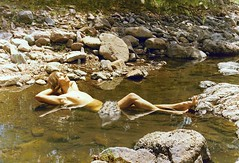 "censored skinny dipping--PG 13 rated--over 18,000 views--all because I tagged it ""skinny dipping!"" (spysgrandson) Tags: mountains hippies stream texas longhair 1975 1970s sunbathing skinnydipping davismountains canonf1 shallowpool spysgrandson"