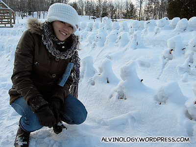 Rachel posing with the barely-there snowmen
