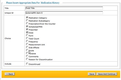screenshot of inserting Appropriate Data for Medication History