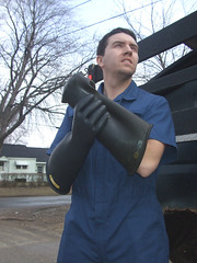 Jeff the WickedCool Trashman 05 (bdahernphoto) Tags: jeff trash truck gloves rubberboots coverall garbageman