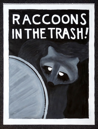 raccoons in the trash!