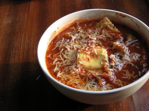 Eggplant Ravioli Soup