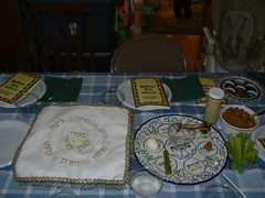 View of the seder plate and matazah cover