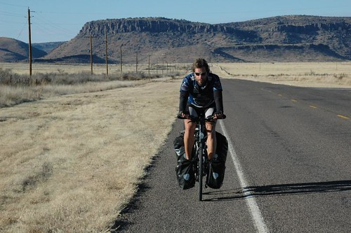 Mark Beaumont in Texas during his round-the-world ride in 2008