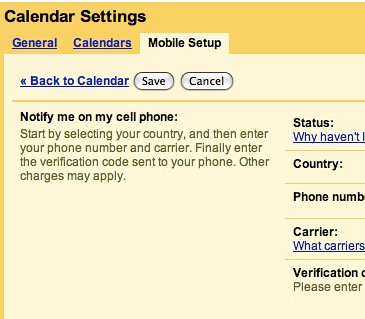 Google - Calenadar Settings - Mobile Setup
