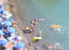 Sorrento, Italy / tilt shift (patrick.swinnea) Tags: people italy beach swim miniature model fake tiny swimmers sorrento umbrellas sunbathers tiltshift tiltshiftmakercom