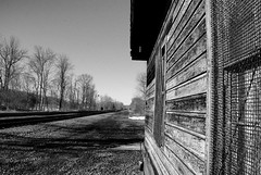 DSC01236adjBW  Alone (ftoomschb) Tags: railroad trees winter sky bw ny building point bare sony tracks poughkeepsie weathered alpha dslr vanishing a700