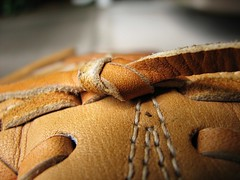 Take Me Out... [PhotoChallenge.org 2009, Day 123] (Scott Coulter) Tags: macro leather canon baseball glove stitching s2is laces photochallenge seams photochallengeorg 2009challenge 2009challenge123