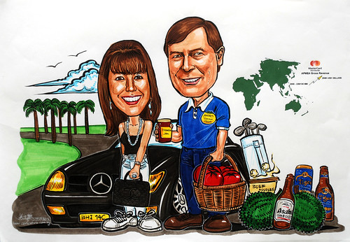Couple caricatures for Mastercard Mr & Mrs Sekulic detail in colour