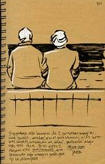 Old couple composing a melancholic image usual at every seafront (freekhand) Tags: sea beach brushpen oldcouple javea uniposca