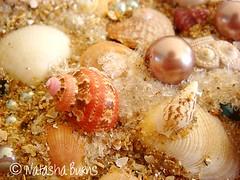 Detail seaside sand & shell collage (Natasha Burns) Tags: sea shells collage glitter beads sand pearls