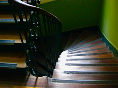 green stairs (Antoaneta) Tags: wood wallpaper paris building green stairs french iron apartment down stairway wrought ballustrade greenwallpaper