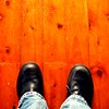 Work Shoes (Kaptain Kobold) Tags: blue red brown selfportrait black alan shoes floor jeans woodenfloor selfie kaptainkobold lamicizia 365reject