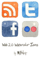 Web 2.0 Watercolor Social Media Icons